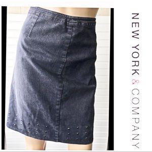 New York & Company Denim Blue Jean Skirt Size 6